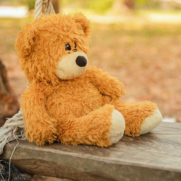 Znudzony miś siedzący na drewnianej ławce