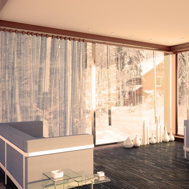 nowoczesny salon z kanapą i dużym oknem